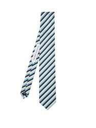 Mathieu Jerome Striped Jacquard Silk Tie Blue Multi