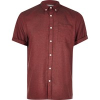 River Island Mens Red Flannel Short Sleeve Shirt