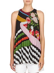 Mary Katrantzou Sleeveless Pleated Top Multicolor