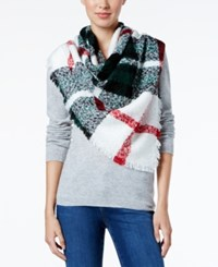 Charter Club Plaid Boucle Square Blanket Scarf Only At Macy's Ivory
