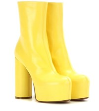 Vetements Leather Platform Boots Yellow