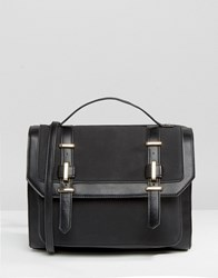 Asos Metal Trim Satchel Bag Black