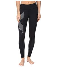 2Xu Hyoptik Mid Rise Compression Tights Black Striped Silver Reflective Women's Workout