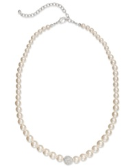 Charter Club Silver Tone Faux Pearl And Fireball Collar Necklace