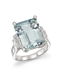 Bloomingdale's Aquamarine And Diamond Baguette Ring In 14K White Gold Blue White