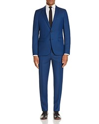 Hugo Box Micro Check Semi Solid Slim Fit Suit Blue