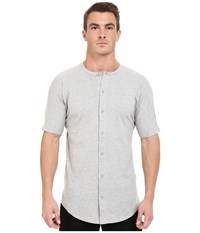 Publish Malachy Cotton Knit Seamless Short Sleeve Button Up Tee With Side Split Hem Heather Men's T Shirt Gray