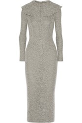 Emilia Wickstead Jacqueline Wool Blend Midi Dress Gray
