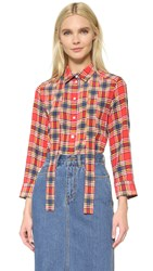 Marc Jacobs Button Front Shirt Plaid Red Yellow