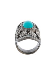 Loree Rodkin Turquoise And Diamond Bondage Ring Metallic