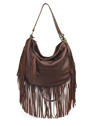 Lucky Brand Leather Rickey Crossbody Hobo Brandy