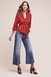 Anthropologie Mother Roller Ultra High Rise Wide Leg Jeans Light Denim