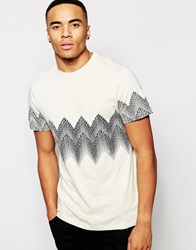 New Look T Shirt With Zig Zag Print Offwhite