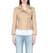 Karen Millen Zipped Detail Leather Biker Jacket Cream