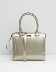 Paul's Boutique Pauls Patent Tote Bag In Silver Silver