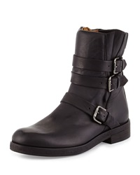 Alberto Fermani Triumverate Short Leather Moto Boot Black Nero
