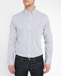 Polo Ralph Lauren Blue And White Striped Twill Custom Fit Shirt