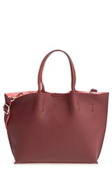 Street Level Junior Women's Faux Leather Crossbody Mini Tote And Wristlet Burgundy