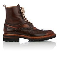 Harris Men's Wingtip Lace Up Boots Brown