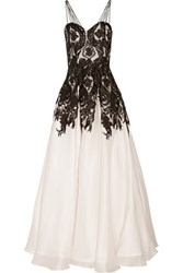 Mikael Aghal Embroidered Tulle And Silk Gown White