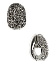 Anne Klein Silvertone Pave Crystal Clip On Earrings