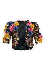Dolce And Gabbana Sequin Paillette Flower Jacket Black Yellow Blue