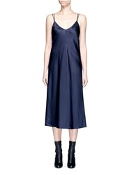 Helmut Lang Drape Back Silk Satin Slip Dress Blue