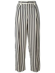 Incotex Striped Wide Legged Cropped Trousers Nude And Neutrals