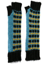 Marni Fingerless Knit Gloves Blue