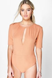 Boohoo Ribbed Key Hole 1 2 Sleeve Body Salmon