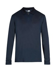 Brioni Long Sleeved Cotton And Silk Blend Polo Shirt Blue