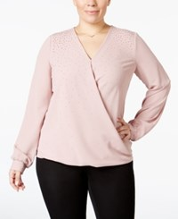 Alfani Plus Size Embellished Faux Wrap Top Only At Macy's Woodrose