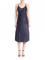 Helmut Lang Draped Silk Slip Dress Navy