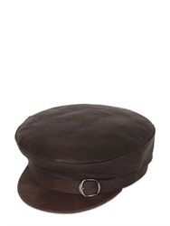 Barbisio Belted Leather Peaked Hat
