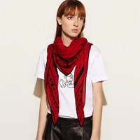 Coach Mickey Oversized Square Scarf Disney Red Multi