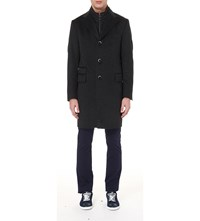 Corneliani Identity Wool Blend Layered Coat Charcoal