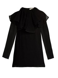 Nina Ricci Detachable Collar Silk Chiffon Blouse Black
