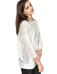 Pixie Market Stella Ivory Loose Knit Slouchy Sweater