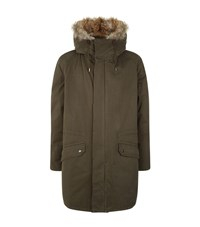 Yves Salomon Fur Lined Hooded Parka Male Green