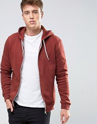 New Look Zip Through Hoodie In Rust Rust Orange