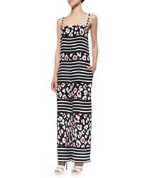 Red Valentino Summer Leopard And Striped Print Jumpsuit