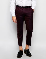 Heart And Dagger Cropped Wool Tweed Trousers In Skinny Fit Burgundy