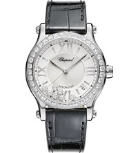 Chopard Happy Sport Medium Automatic Stainless Steel Diamond And Alligator Leather Watch