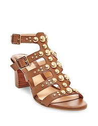Brian Atwood Blaise Leather Sandals Cognac
