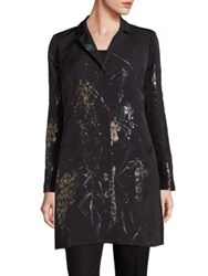 Lafayette 148 New York Guenever Jacquard Fontaine Floral Coat Black Multi