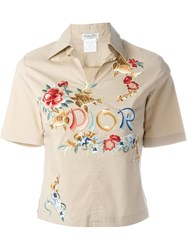 Christian Dior Vintage Embroidered Polo Shirt Nude And Neutrals