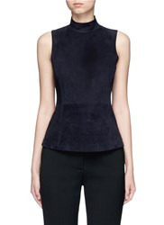 Theory 'Eulia' Suede Front Ponte Knit Top Black