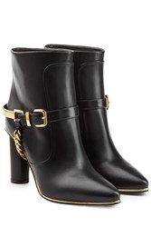 Balmain Leather Ankle Boots With Chain Embellishment Black