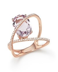 Bloomingdale's Amethyst And Diamond Statement Ring In 14K Rose Gold Purple Pink