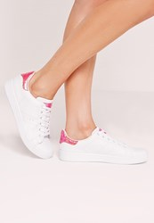 Missguided Reptile Tab Tennis Trainer Pink White